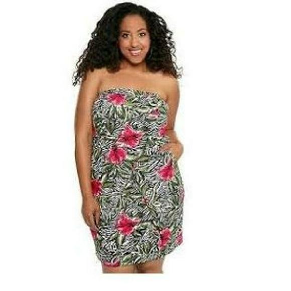 5affc98c465 Torrid dress Zebra Floral prints Strapless